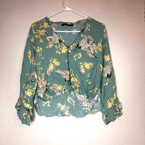 zara floral button front crop blouse Medium